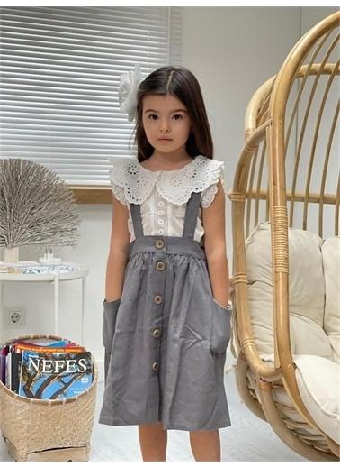 Hilal Akıncı Kids Kiz Çocuk Dantel Yaka Detayli Bluz Renklı Salopet Takim Gri